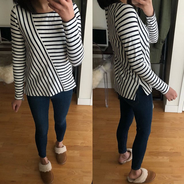 LOFT Mixed Stripe Top, size XXS regular