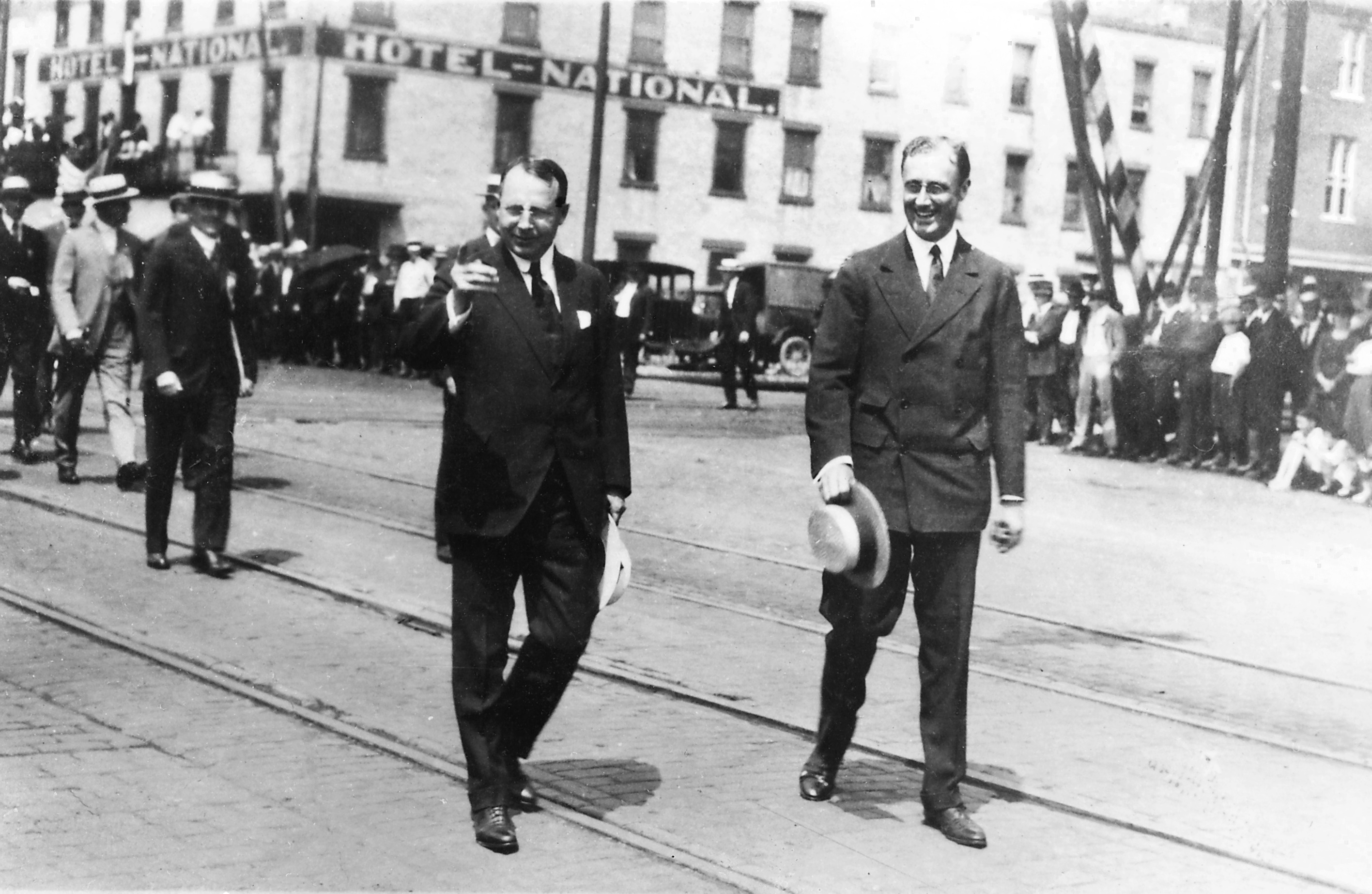 Franklin D. Roosevelt and James Cox campaigning in Dayton, Ohio, August 7, 1920.