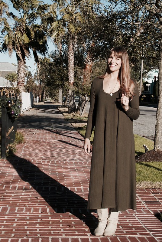 Mood Fabrics Olive Modal Jersey Ebony Dress