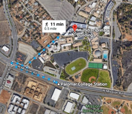 To walk from the Palomar College Sprinter station to the ...