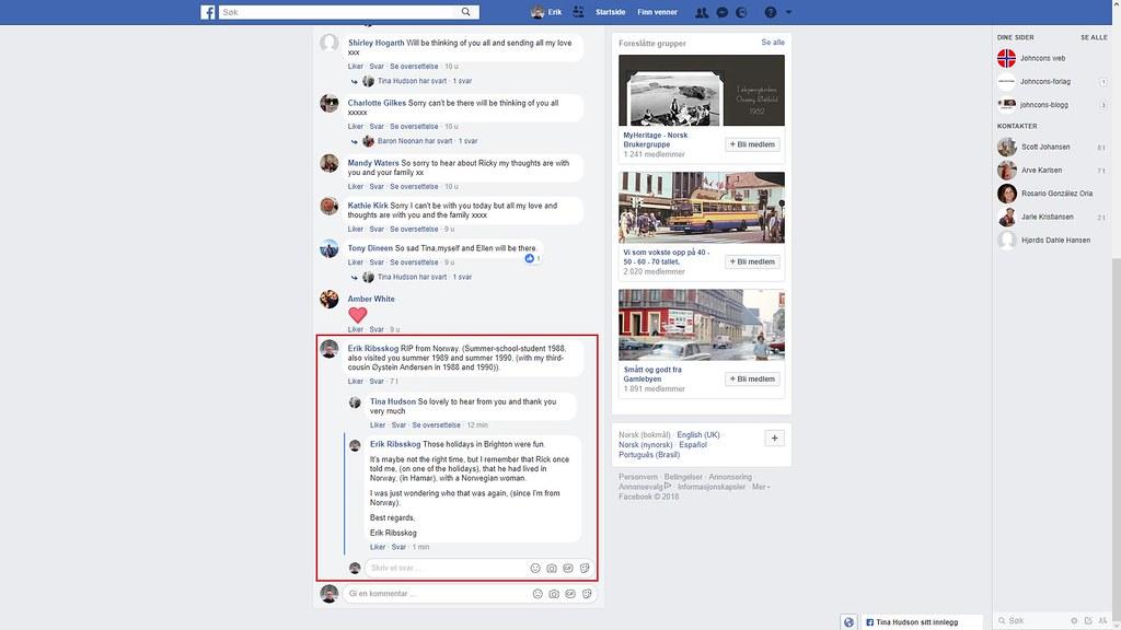 mer fra facebook hamar rick tina