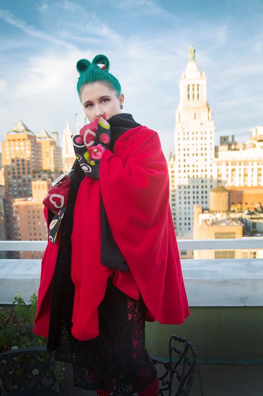 Lace kimono rooftop NYC 3