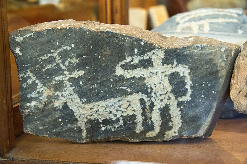 Hammered rock-carving, stone produced by Cycladic civilization, an Early Bronze Age culture