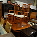 Dark wood stained solid  extendable dining table and 6 chairs E270 the set