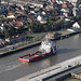 Vos Prime support vessel sailing up the River Yare in Great Yarmouth - aerial view