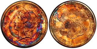1857-S toned Double Eagle