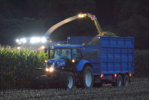 Claas Jaguar 970 SPFH filling a Broughan Engineering Mega HiSpeed Trailer drawn by a New Holland T7.200 Tractor