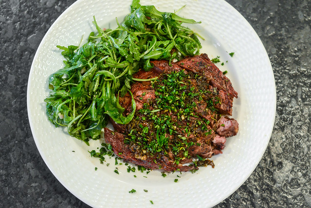 Grilled Ribeye with Herbed Brown Butter Sauce