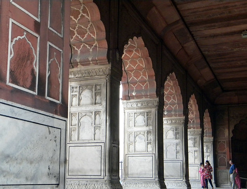 Arches of marble and sandstone in the Jama Masjid Mosque in Delhi, India