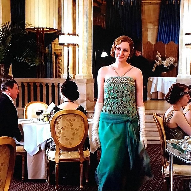 "We've been watching Downton Abbey (or ""Downer Abbey"" as I like to call it). Edith's clothes get a LOT better in Series 4. I liked this dress especially."