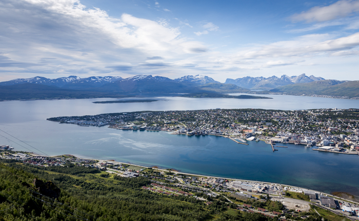 Tromsø Tromssa Fjellheisen Norja Norway Norge pohjois-Norja näköalahissi näkymä tunturilta