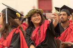 UH Hilo graduates celebrate at the campus' commencement ceremony on December 16, 2017.  Photo by Bob Douglas/UH Hilo Stories