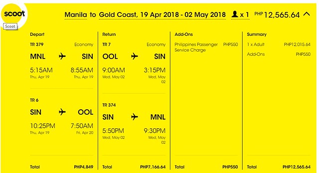 Manila to Gold Coast Roundtrip Scoot Promo April 19 to May 2, 2018