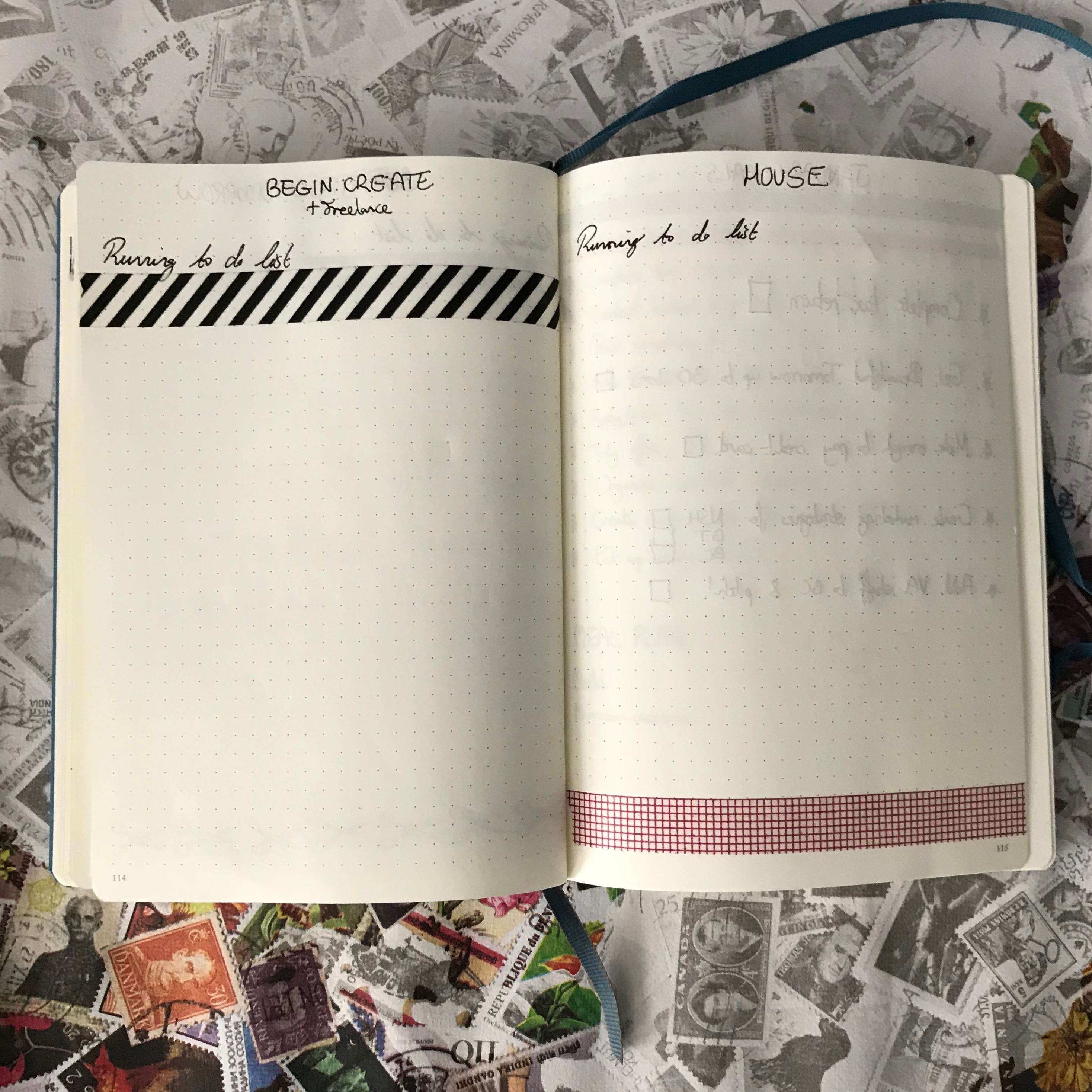 bullet journal setup - running to do lists