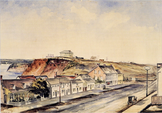 "Looking east along Wellington Street near Bank Street in Bytown, painted by C. Sedley in 1853. Sedley's watercolor was painted from a room in Mr. Doran's hotel along Wellington Street. The buildings shown on the Hill were the Military Barracks, occupied by ""A"" Company of the Royal Canadian Rifle Regiment, commanded by Major Clements. It is now home to Parliament Hill."
