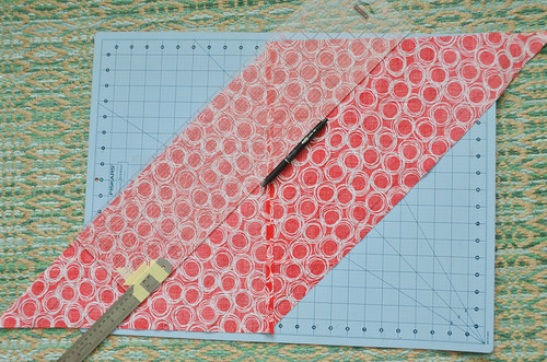Use a ruler and erasable pen to connect the marks.