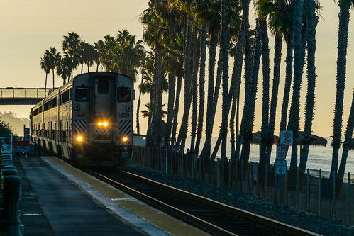 california nikon nikond5300 sanclemente beach commutertrain geotagged goldenhour lights morning palmtree palmtrees railroad sky unitedstates