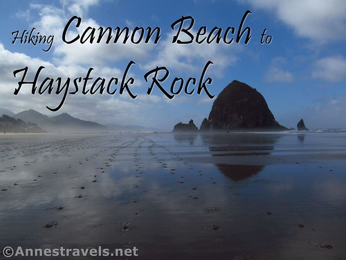 Hiking Cannon Beach toward Haystack Rock in the early morning mist, Oregon