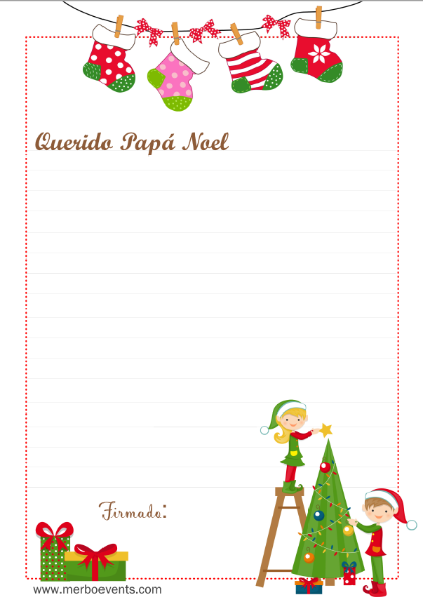 Carta Papa noel imprmible gratis MErbo Events