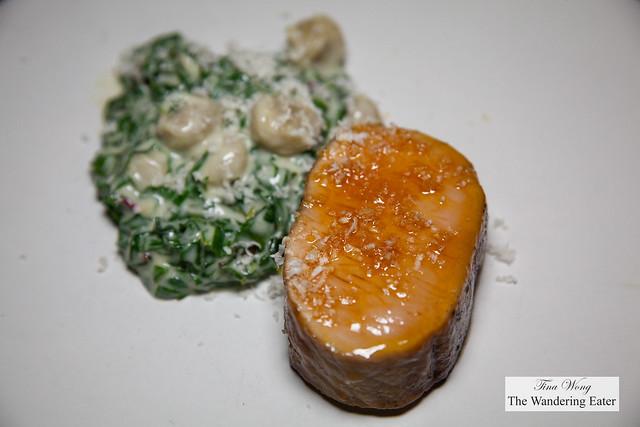 Berkshire pork loin, Swiss chard, gnocchi, horseradish