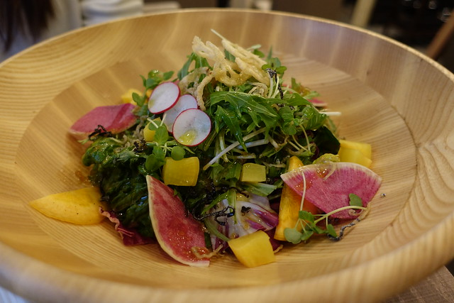 azzurro verdura(京水菜と田舎沢庵の和風サラダ)
