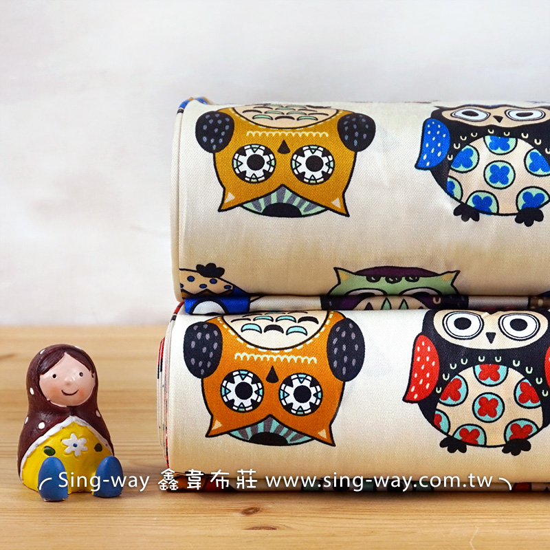 顛倒貓頭鷹 鳥禽 可愛貓頭鷹 精梳棉床品床單布料 CA490371