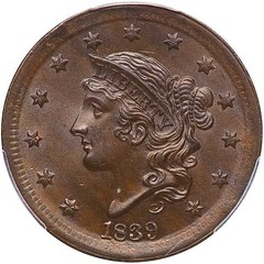 1839 Silly head Large Cent obverse