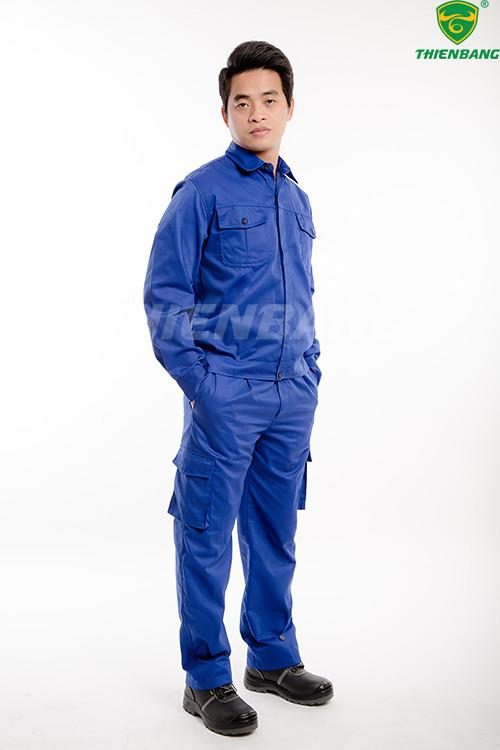 Quần áo bảo hộ công nhân xanh dương túi hộp