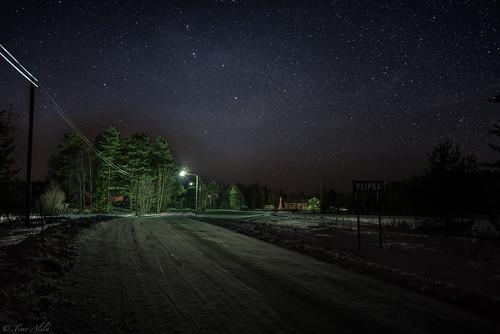 winter snow ice road village country landscape maaseutu ylipää lasikangas raahe finland hdr stars sky long exposure trees lights buildings