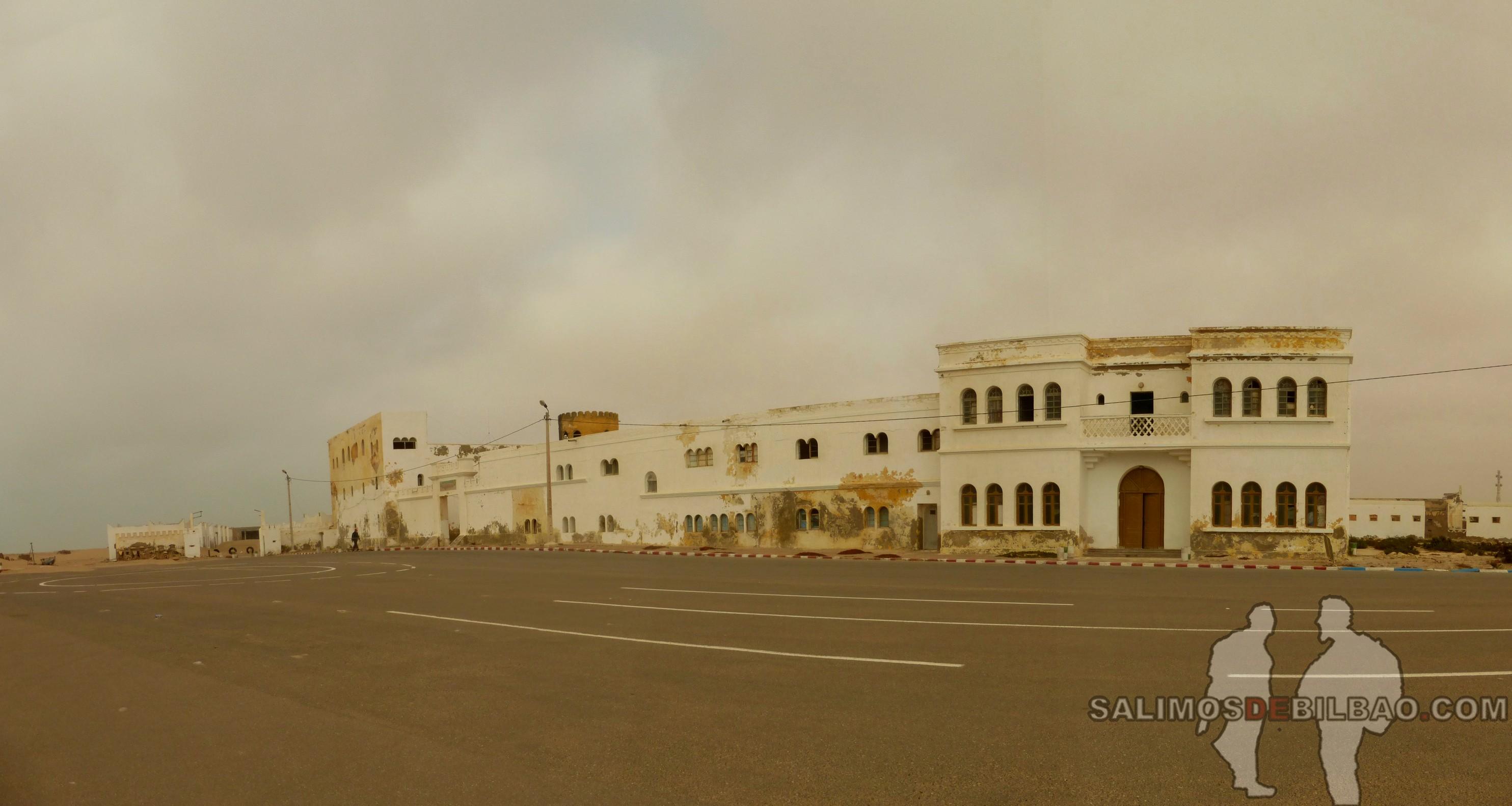 293. Pano, Edificio abandonado junto a la playa, Tarfaya
