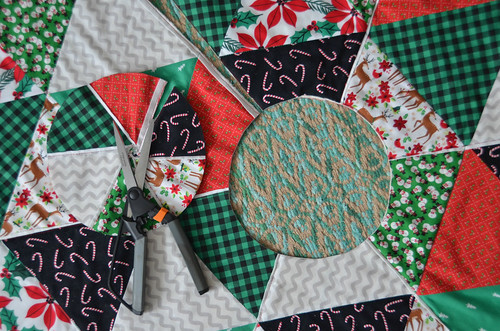 If you're making a Christmas Tree Skirt Quilt, ensure there's a slit from the quilt edge to the circle.