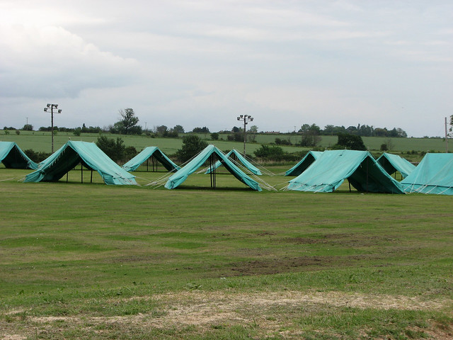 Old fashioned tents on Mersea Island