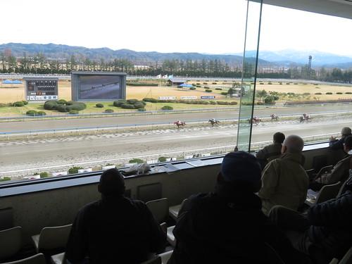 金沢競馬場のスタンド3階からの景色