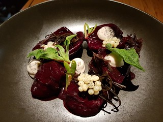 Native spiced beetroot, macadamia cream, ginger pearls, sea vegetables at Transformer