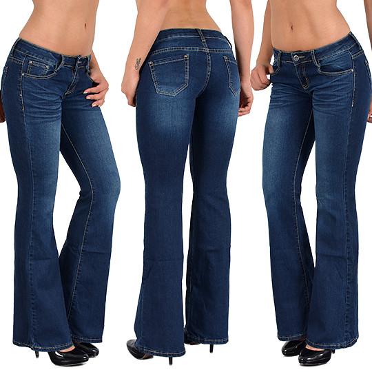 Damen Denim Schlaghose Bootcut Jeans Hose Jeanshose Hochbund Hüftjeans Blau 42
