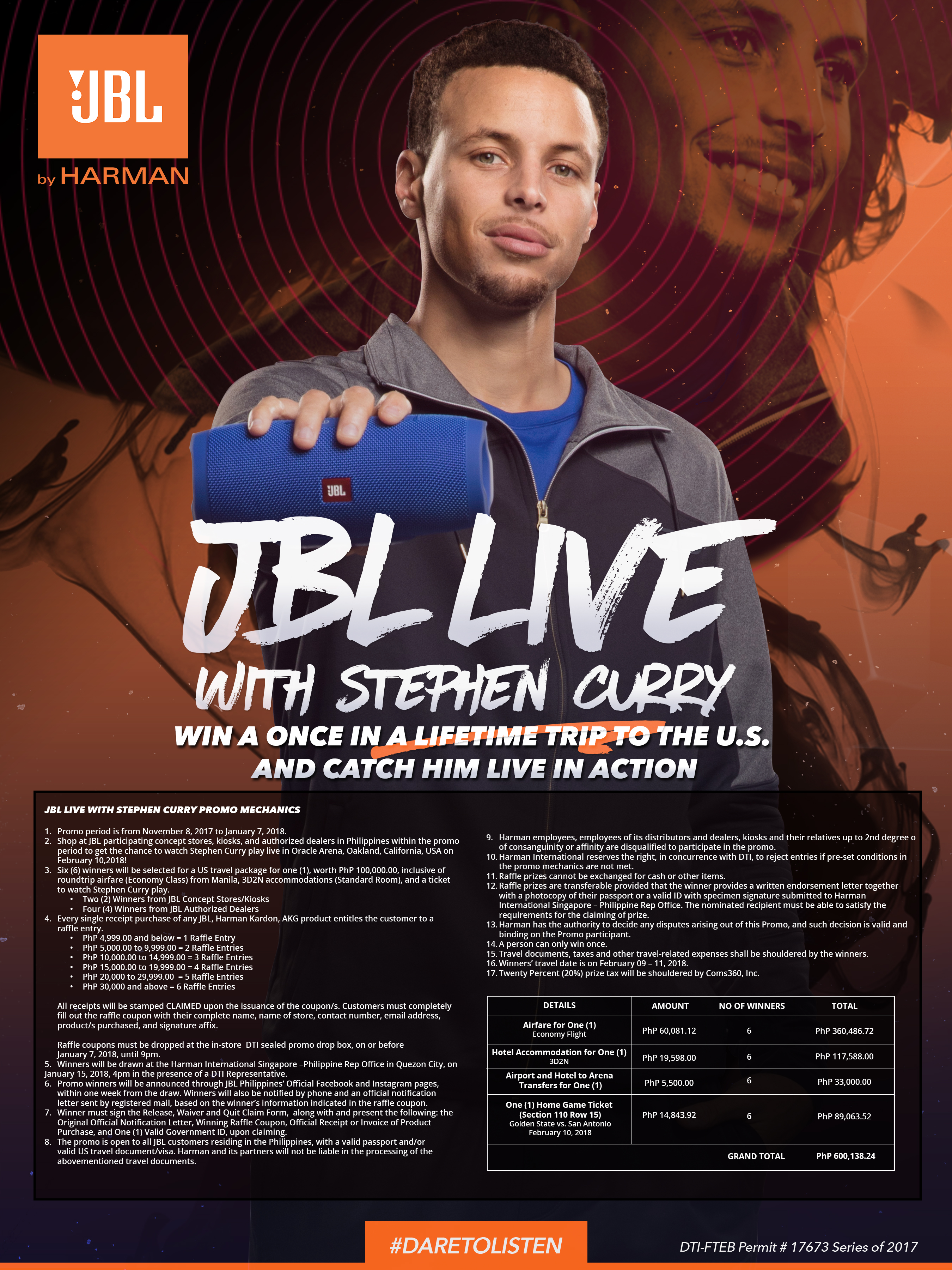 Date To Listen And Catch Stephen Curry Live with JBL