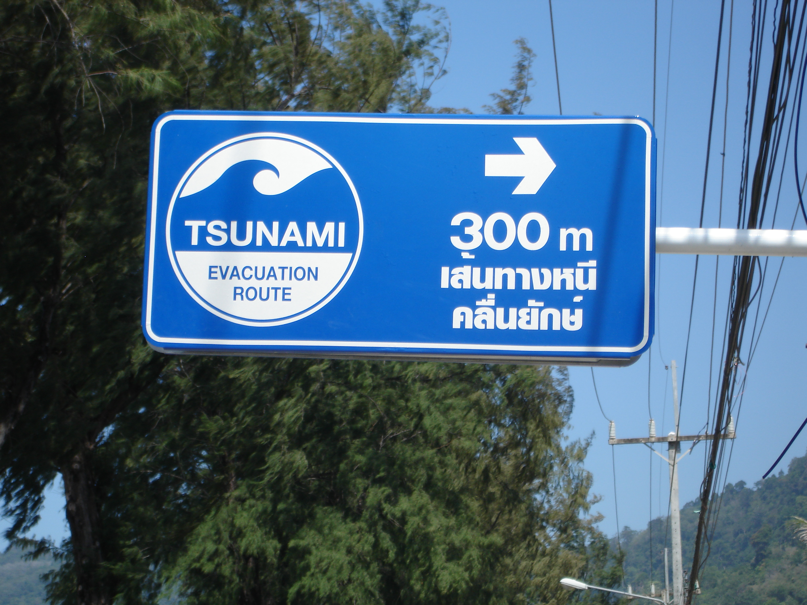 Tsunami Evacuation Route sign near Loma Park on Patong Beach, Phuket, Thailand. Photo taken by Mark Jochim on December 24, 2005.