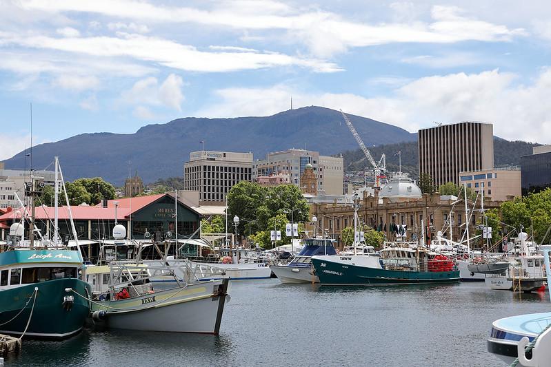 Hobart with Mount Wellington