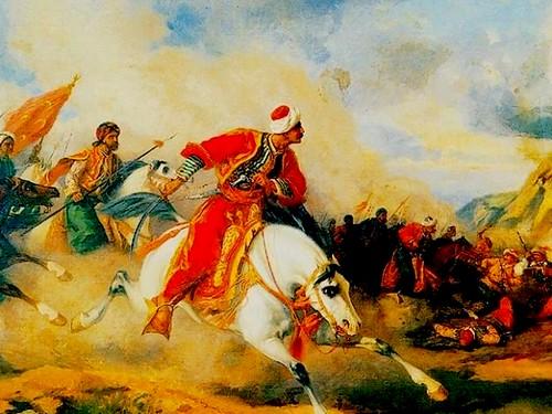 Ottoman Sultan Selim I in the battlefield