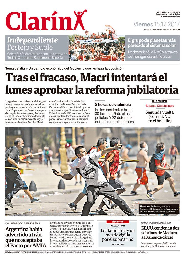 Tapa Clarín 15 de diciembre de 2017