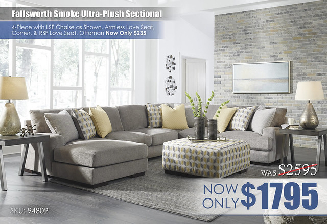 Fallsworth Smoke Ultra-Plush Sectional 94802-16-34-77-56-08-T467