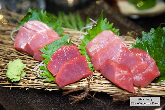 Bluefin tuna tasting of lean (akami) and fatty (toro) tuna