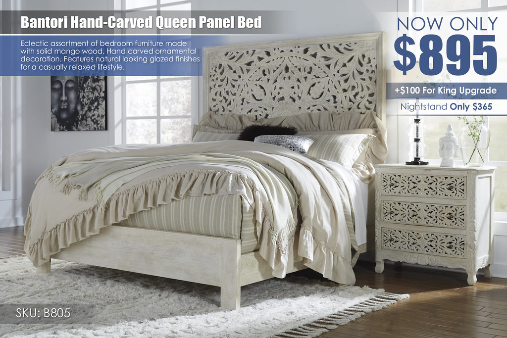 Bantori Solid Mango Queen Panel Bed B805-258-256-297-193-Q745
