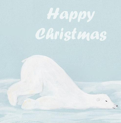 sleepy polar bear gauche on blue card