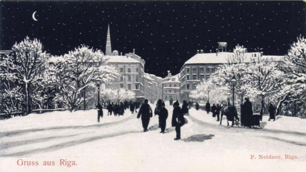 Entre la Vieille Ville de Riga et Centrs sous la neige sur une carte postale de 1900.