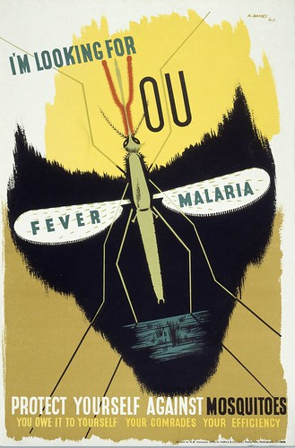 L0023767 The malaria mosquito forming the eye-sockets of a skull