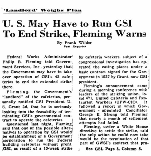 Fleming says U.S. may run cafeterias to end strike: 1948 | by Washington Area Spark