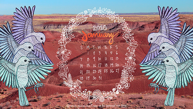 January Desktop Calendar 2018