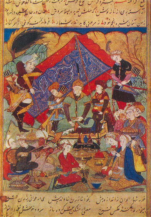 Timur feasts in the environs of Samarkand, by Sharuf ad-din Ali Yesdy