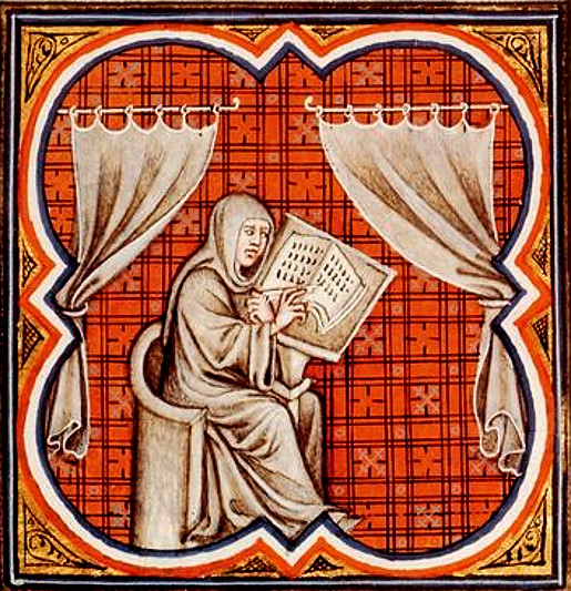 Einhard the Scribe, painting of 14th century